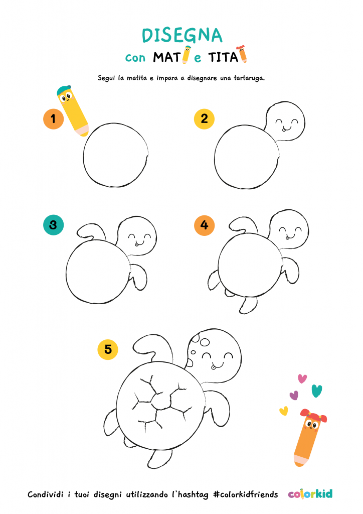 impara a disegnare tartaruga
